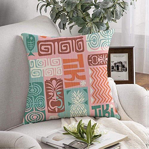 N\A Dekorativer quadratischer Kissenbezug Ananas-Textil-Textur Exotisches Hibiskus-Muster Verwenden Sie abstrakte Maske Tahiti für Texturen Spring Soft-Kissenbezug für Schlafzimmer-Sofa-Couch