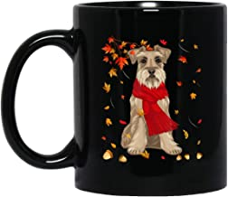 Cute Schnauzer Dog Autumn Thanksgiving Gifts 11 oz. Black Mug