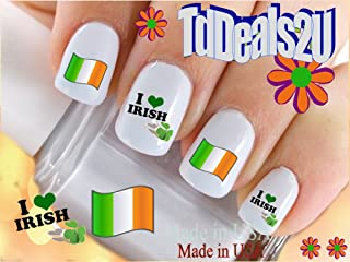 Country Flags - Ireland Flag Love Irish Nail Decals - WaterSlide Nail Art Decals - Highest Quality! Made in USA