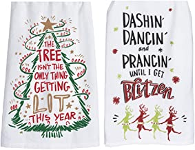 DHE Primitives by Kathy Bundle of 2 Humorous Drinking Kitchen Towels, Get Blitzen, Getting Lit