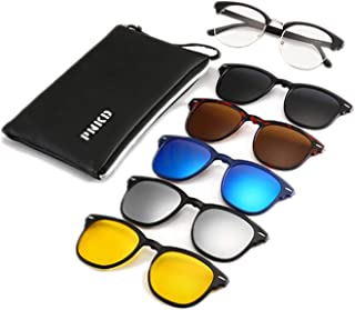PNKD Premium Polarized Aviator Sunglasses, 5 in 1 Interchange Lenses for Driving, Walking, Running, Cycling, Clip on Magnetic UV Protection Sunglasses for Men and Women, Clear Vision for Sport and Casual Activities