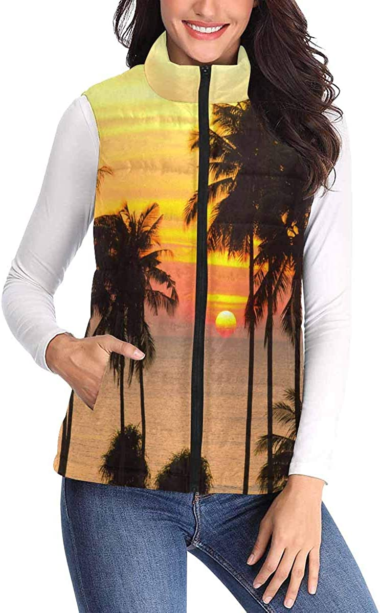 InterestPrint Women's Zip Vest Outerwear with Pockets Warm Sleeveless Vest Sunglasses and Mustaches