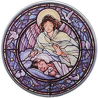 Stained Glass Panel - Little Girl Guardian Angel Stained Glass Window Hangings - Art Glass Window Treatments
