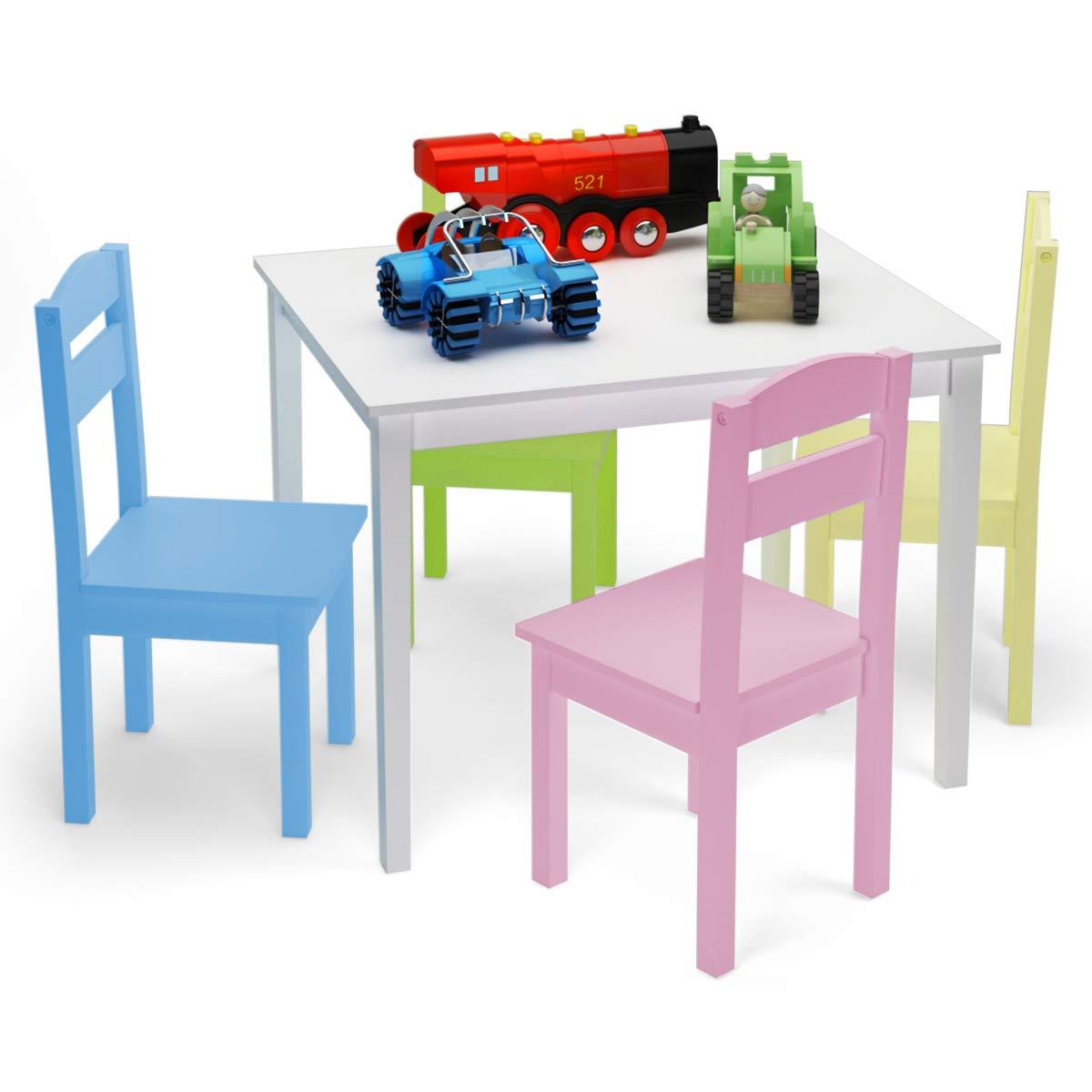 Goplus - Juego de mesa y 4 sillas para niños, juego de muebles de MDF para trabajar, comer, dibujar, jugar, naturaleza, multicolor claro y multicolor: Amazon.es: Hogar