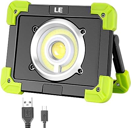 LE Foco LED 20W 1700lm Recargable, 3 Modos, con Luz Roja, Batería 6000mAh, Resistente al agua, Luz de Trabajo