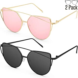 Livhò Sunglasses for Women, Cat Eye Mirrored Flat Lenses...
