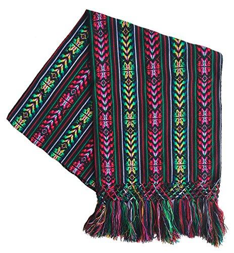 Mexikanischer handgefertigter farbenfroher Rebozo Schal - Schwarz - Mittel