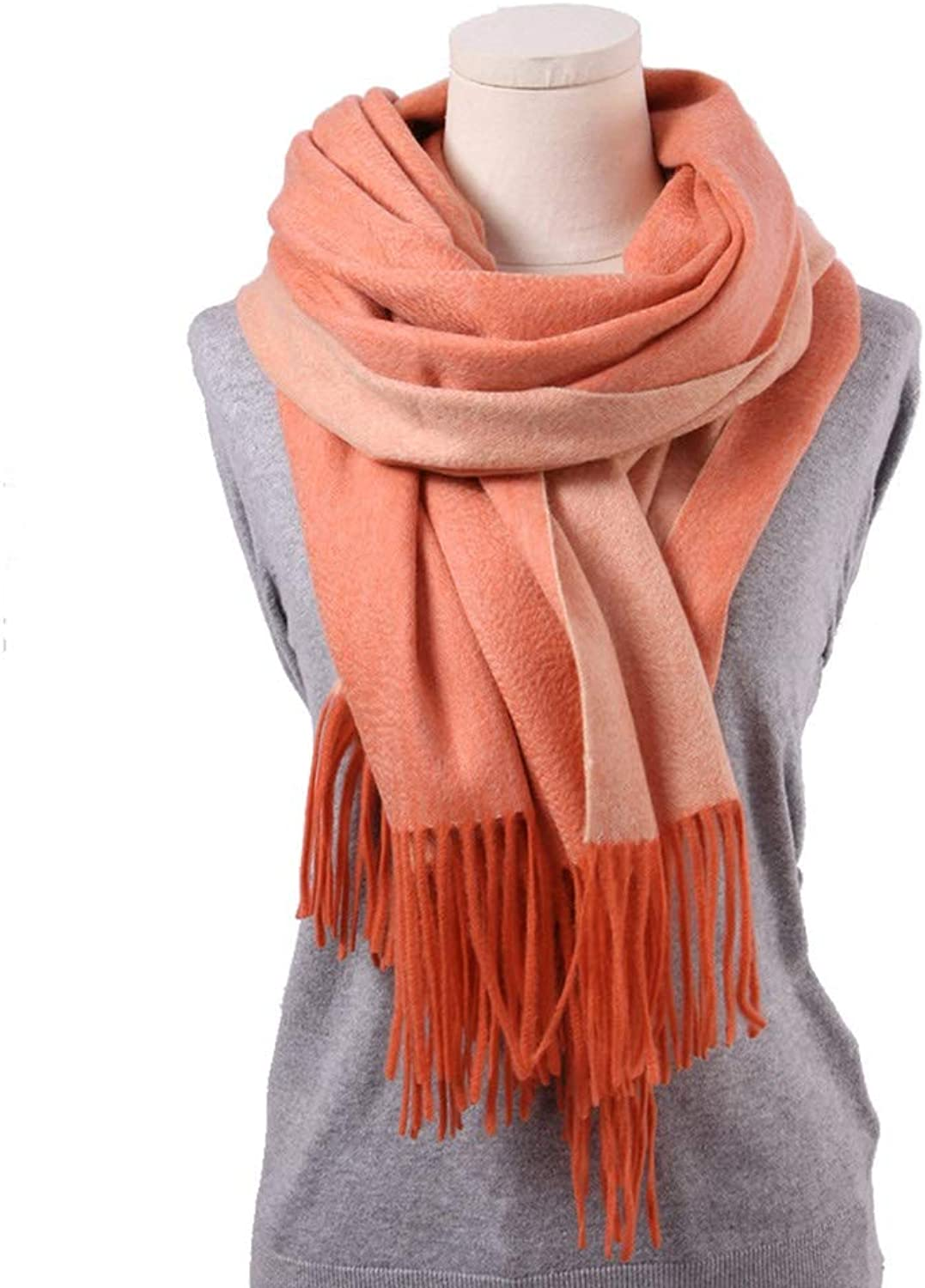 Water Ripple Ladies Shawl Large Size Thick Solid color Autumn and Winter Wool Shawl Soft Wild color Collar Size 200  70cm (color   orange, Size   One Size)