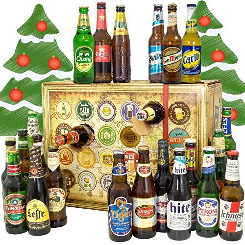 Bier Adventskalender  Welt / mit Tsingtao + Saigon Export + Cobra Premium Beer + mehr / 24 Biersorten in FLASCHEN Bieradventskalender Welt 2019 / Adventskalender für Erwachsene