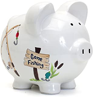 Child to Cherish Ceramic Piggy Bank for Boys, Gone Fishing