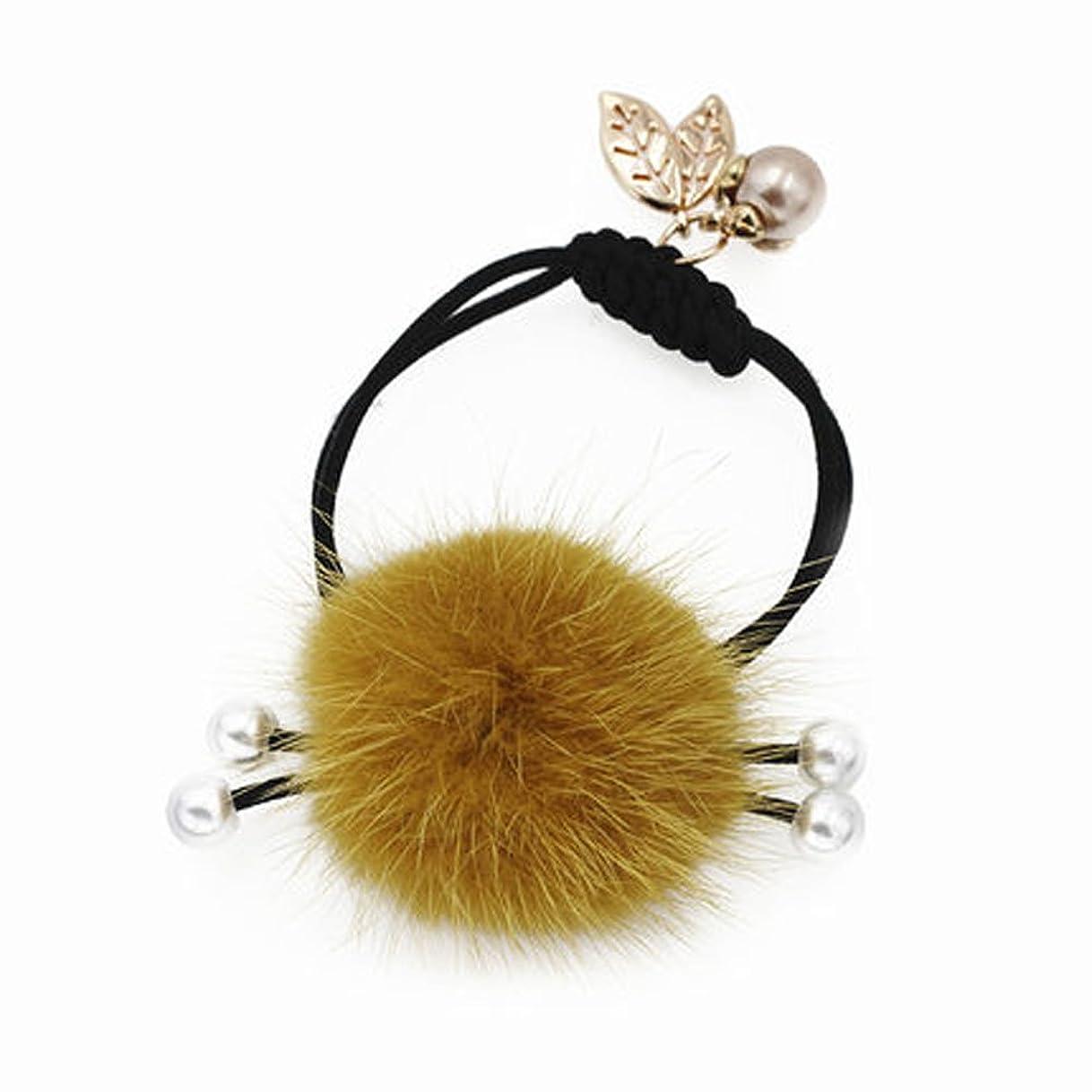 行く慈善遺跡冬ラブリーふわふわのボールヘア結束ヘアバンドラバーヘアアクセサリー - イエロー