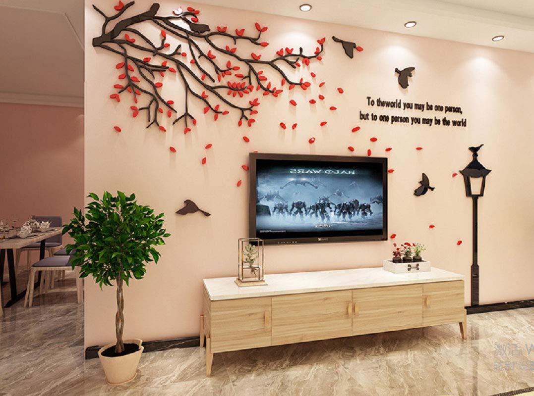 Amazon Com Encoft Red Leaf Tv Wall Decor Sticker Bedroom Livingroom Wall Art Decoration 188cm X 110cm Kitchen Dining