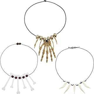 3 Pieces Skull Skeleton Hand Bone Necklace Sabre Tooth Necklace Jungle Necklace Halloween Caveman Cosplay Costume Accessory