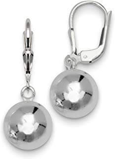 Sterling Silver 10mm Solid Ball Dangling Leverback Earrings
