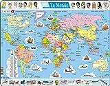 Larsen K1 La Carte du Monde Politique, édition Français, Puzzle Cadre avec de 107 pièces