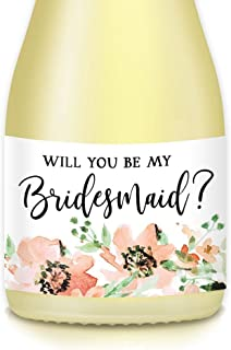 Will You Be My Bridesmaid? Set of 10 Mini Champagne Labels Bride Proposal Asking Sister, Best Friend, Favorite Ladies Maid Matron of Honor To Plan Wedding 3.5