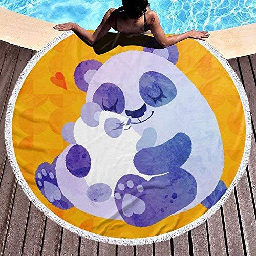 Kotdeqay Rundes Strandtuch, Panda Love Hippie Happy Youth Towel Extra Large Sanddichte Decke Yogamatte mit Quasten