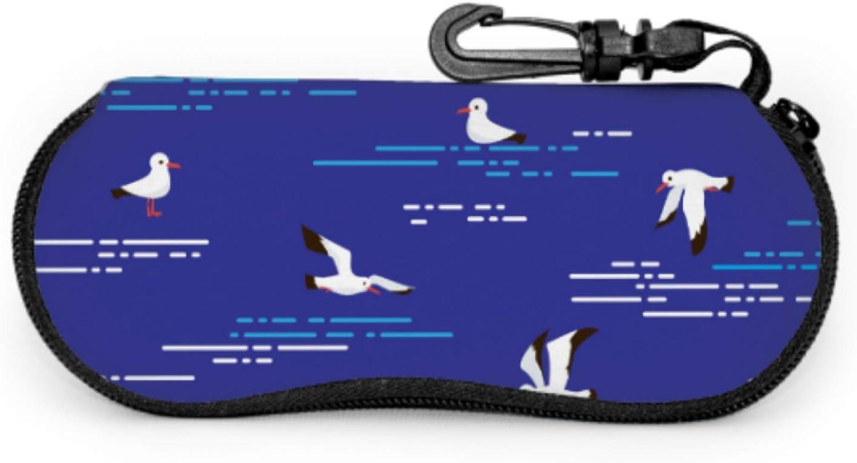 Nautical Birds Marine Seagulls Sunglass Travel Case Case For Sunglasses For Women Light Portable Neoprene Zipper Soft Case Eyeglass Cases For Teens