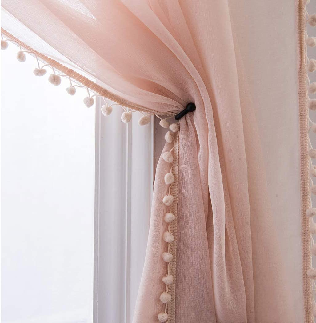 MISS SELECTEX Linen Look Pom Tasseled P service New product!! Rod Sheer - Curtains