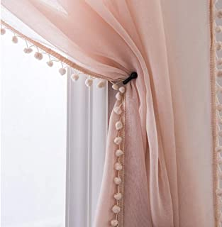 Selectex Linen Look Pom Pom Tasseled Sheer Curtains - Rod Pocket Voile Curtains for Living and Bedroom, Set of 2 Curtain Panels (52 x 84 inch, Blush)