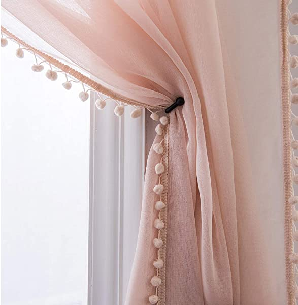 Selectex Linen Look Pom Pom Tasseled Sheer Curtains Rod Pocket Voile Curtains For Living And Bedroom Set Of 2 Curtain Panels 52 X 84 Inch Blush