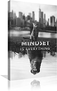 Urttiiyy Motivational Wall Art Inspirational Canvas Painting Mindset is Everything Pictures Entrepreneur Quotes Posters Cat Lion Prints Artwork Home Office Classroom Decor Framed Ready to Hang