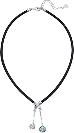 Majorica - Black Leather Pearls Dangle Necklace