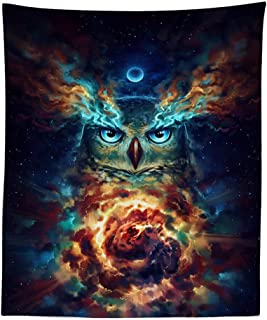 Boyouth Tapestry Wall Hanging,Psychedelic Colorful Owl Under Moonlight Picture Digital Print Wall Tapestry Art Home Decorations for Living Room Bedroom Dorm,59.1