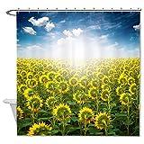 rioengnakg Schimmelresistent Polyester Sonnenblumen Duschvorhang Polyester Duschvorhang wasserdicht, Polyester, #1, 66