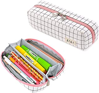 Oyachic Square Grid Pencil Case Multi Compartments Pen Bag Pouch Holder Rectangle Cosmetic Bags Organizer Large Capacity S...