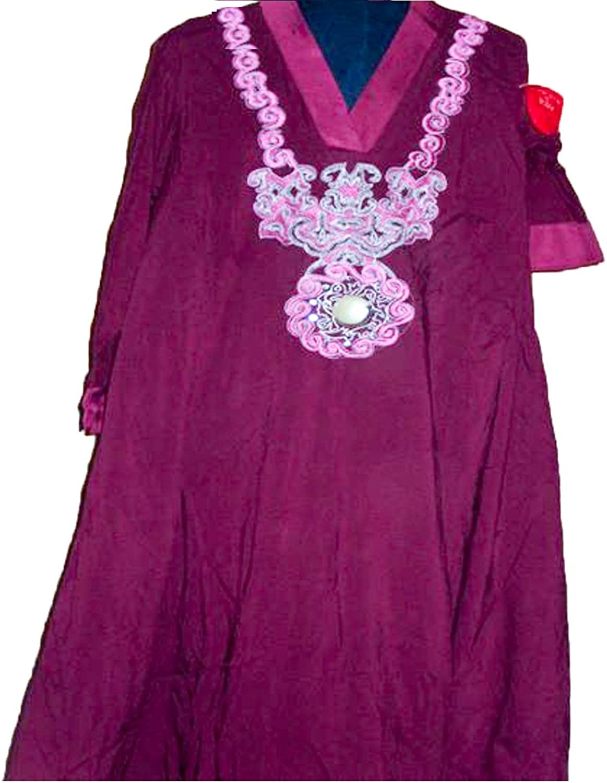 Casual Dresses for Women Fashion  2 Piece Linen Maroon Pakistani Dress, Medium