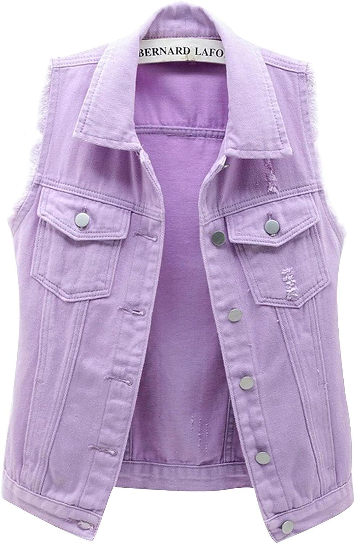Women's Cropped Denim Jacket Sleeveless Classic Basic Stretch Max 86% OFF Choice De