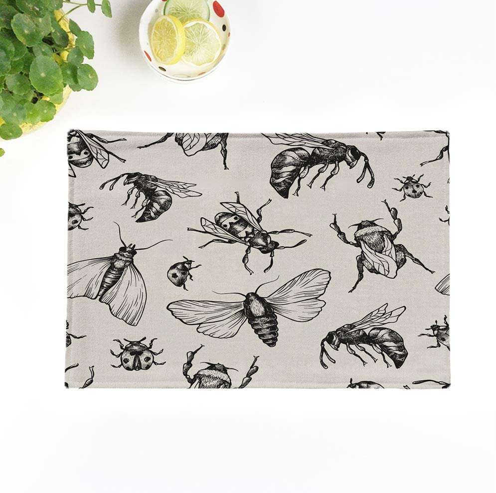 Topyee Placemats Set Of 4 Pattern Insects In Different Poses Moth Butterfly Bee Bumblebee 17x12 5 Inch Non Slip Washable Place Mats For Kitchen Dinner Table Mats Parties Decor Home Kitchen Amazon Com