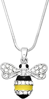 Lola Bella Gifts Crystal Bumblebee Bee Pendant Necklace with Gift Box