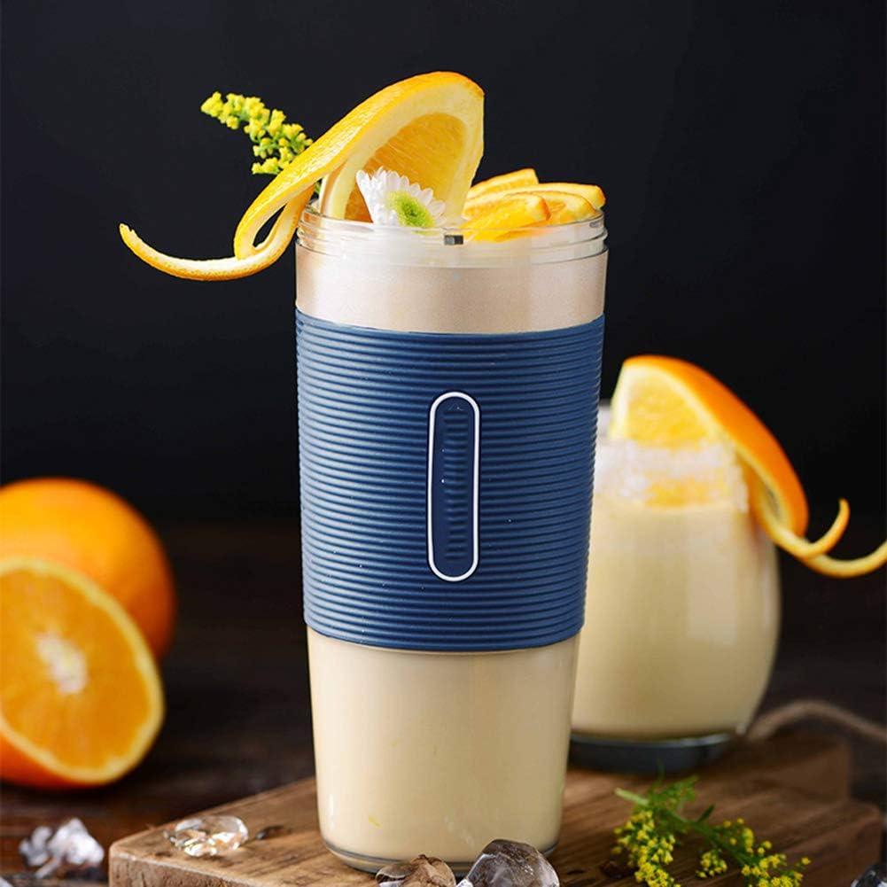 Licuadora portátil, Mini USB Recargable Juice Cup, Batidora personal de batidos, Batería recargable 1400mAh, 300ML,Blue Blue