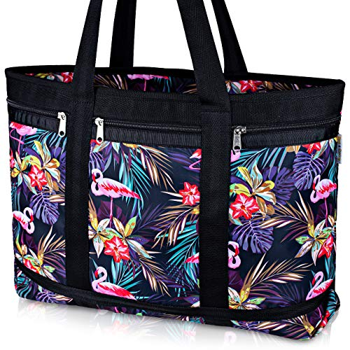 Classic Large Travel Tote Bag - Large Beach Bag With Zipper - Waterproof Tote Bag For Beach, Pool, Gym, Holidays (pink flamingo)