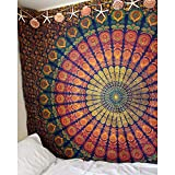 Tapiz para Colgar en la Pared, Tapiz de Mandala, de algodón Indio, Colcha de pícnic, Manta de Pared, Tapiz Hippie, Naranja, 130X150CM