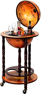 Chic-Product Antique Style 16th Century Italian Rack 36 Inch Wood Globe Wine Liquor Bar Stand with Bottle Shelf A Unique Outlook Will Bring Highlight to Your Lifestyle