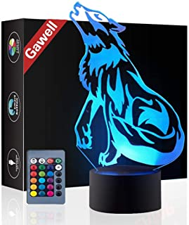 Wolf 3D Birthday Gift Illusion Night Light Beside Table Lamp, Gawell 16 Color Changing Touch Switch Decoration Lamps with Acrylic Flat & ABS Base & USB Cable & Remote Control Wolf Lover Theme Toy