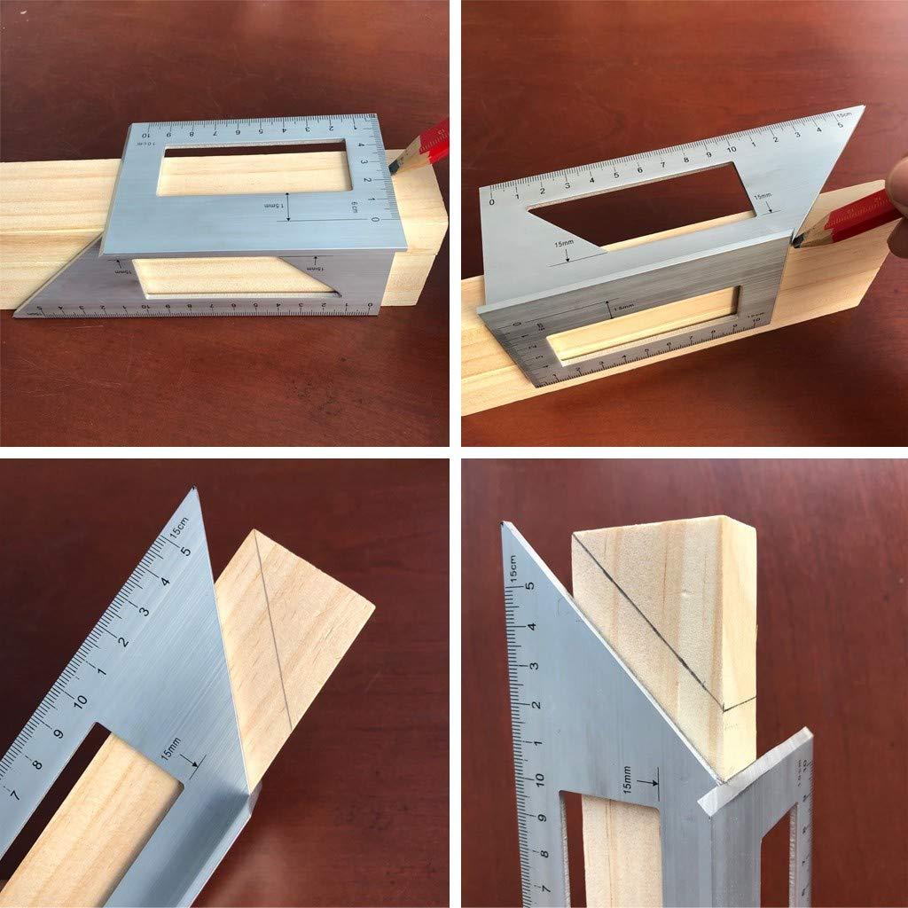 TwoCC Regla de aluminio Scriber T de madera para carpintería Regla ...