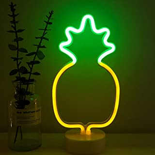 Pineapple Neon Sign Night Light Lamp with Holder Base Decorative Marquee Signs Light Battery Operated Wall Decoration for Living Room Bedroom Christmas Party Supplies Kids Toys Birthday Gifts