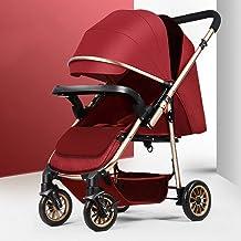 YLLXX Silla de Paseo - Ultra-Light Doble finalidad de Estar Sentado o Tumbado Paraguas Cochecito de bebé Plegable a Prueba de Golpes Cuatro- Cochecito de bebé Conveniente para los bebés de 0-3 años
