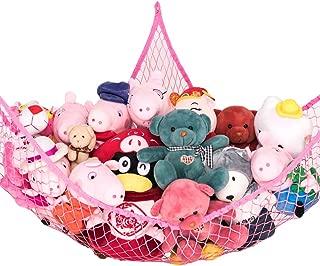 Toy Hammock, Stuffed Animal Toy Storage Hammock Net, Goodhelper 70 inch Extra Large Jumbo Mesh Toy Net, Wall Sling Corner Mesh Nets for Kids Toys (Pink 1 Piece)