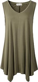 6b012700114 LARACE Womens Tunic Plus Size Long Flowy Tank Top V-Neck Loose Basic T Shirt
