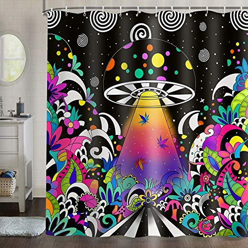 Gdmoon Psychedelic Mushroom Shower Curtain Spaceship Marijuana Leaves Starry Sky Bohemian Colorful Hippie Art Abstract Striped Fabric Bathroom Curtain Set with 12 Hooks 72x72In YLWHGD971