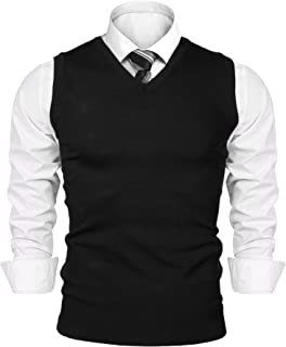 Mens Pullover V-Neck Sweater Vest Slim Fit Basic Plain Knitted Ribbing Edge Sleeveless Sweaters