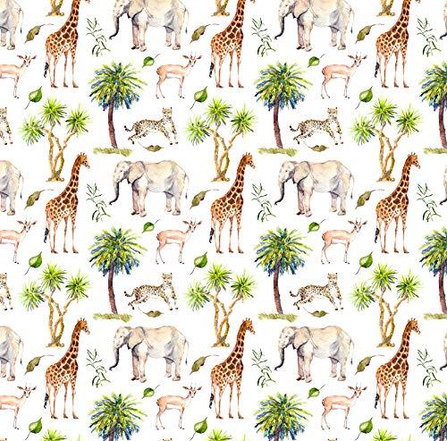 Safari Wrapping Paper Jungle Birthday Gift, Folded Flat 30 x 20 Inch, 3 Sheets