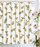 Lifeel Papaya Shower Curtains, Allover Fruits Shower Curtain Cute Bright Dotted Design Waterproof Fabric Bathroom Shower Curtain Set with 12 Hooks, Yellow White 72