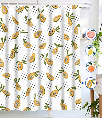 """Lifeel Papaya Shower Curtains, Allover Fruits Shower Curtain Cute Bright Dotted Design Waterproof Fabric Bathroom Shower Curtain Set with 12 Hooks, Yellow White 72""""×72"""""""