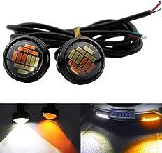 TABEN - luz led de ojo de águila, 4040-12SMD de alta potencia de 9 W, doble color blanco/ámbar, 23 mm, para motocicletas y coches, antiniebla, de circulación diurna, de marcha atrás, 2 unidades